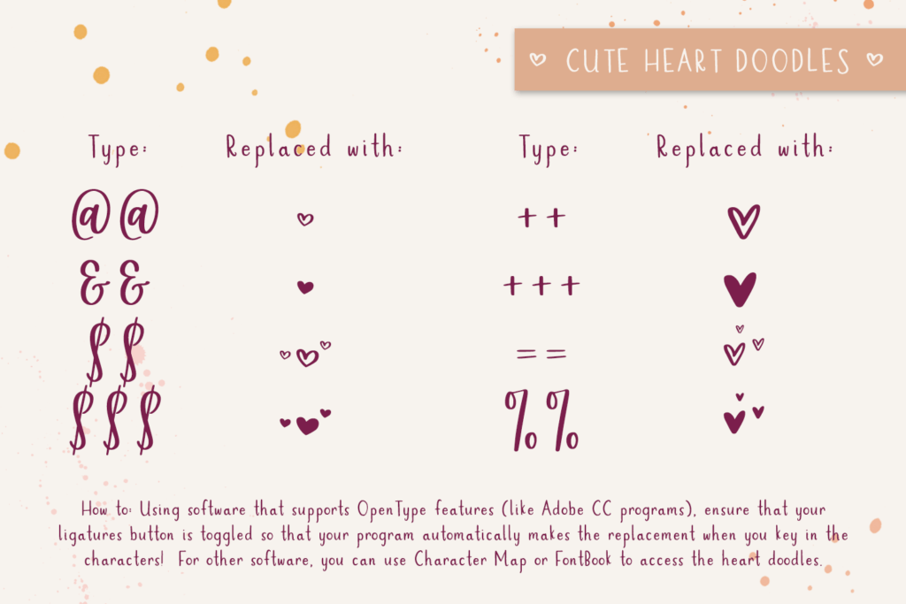heart font extra features
