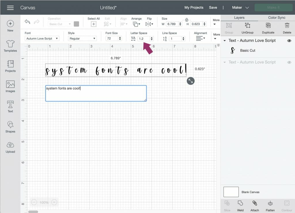 using system fonts in Design Space