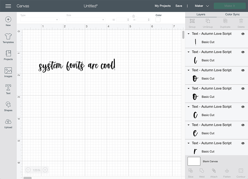 using system fonts properly in Design Space